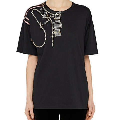 No. 21 Tops 42 / BLACK No.21 Embellished T-Shirt  With Pins and Embroidery