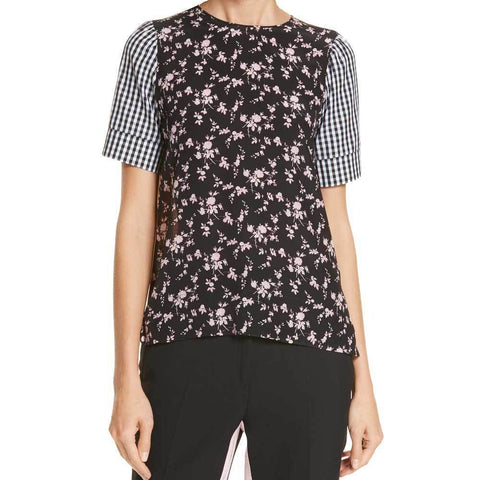 No. 21 Tops 42 / Black No. 21 Patchwork Print Top