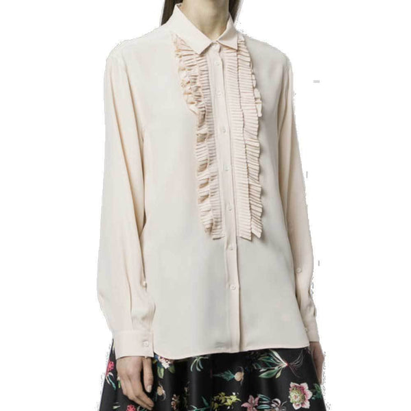 No. 21 Tops 42 / Ivory No. 21 Ruffled Bib Button Down Blouse