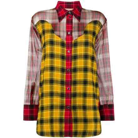 No. 21 Sheer Panels Checked Shirt Tops No. 21