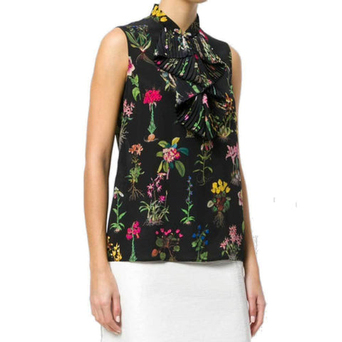 No. 21 Tops 46 / Black No. 21 Floral Sleeveless Blouse