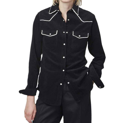 Officine Generale tops M / BLACK/WHITE Officine Generale Felice Corduroy Piped Shirt
