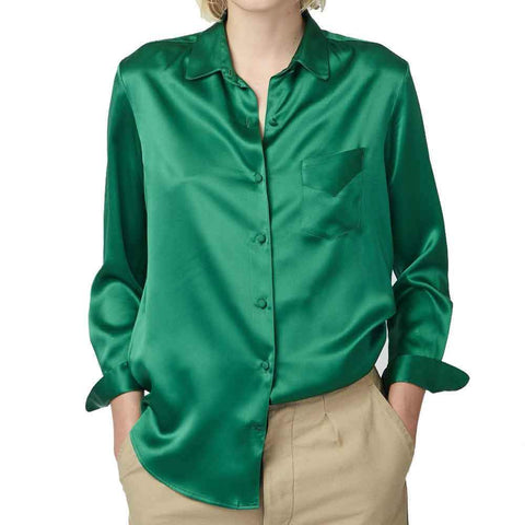 Officine Generale tops M / GREEN Officine Generale Iris French Silk Shirt