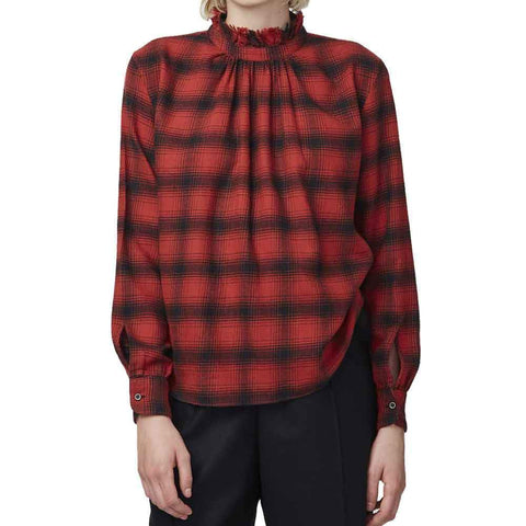 Officine Generale tops S / RED/BLACK Officine Generale Sofia Checked Flannel Shirt