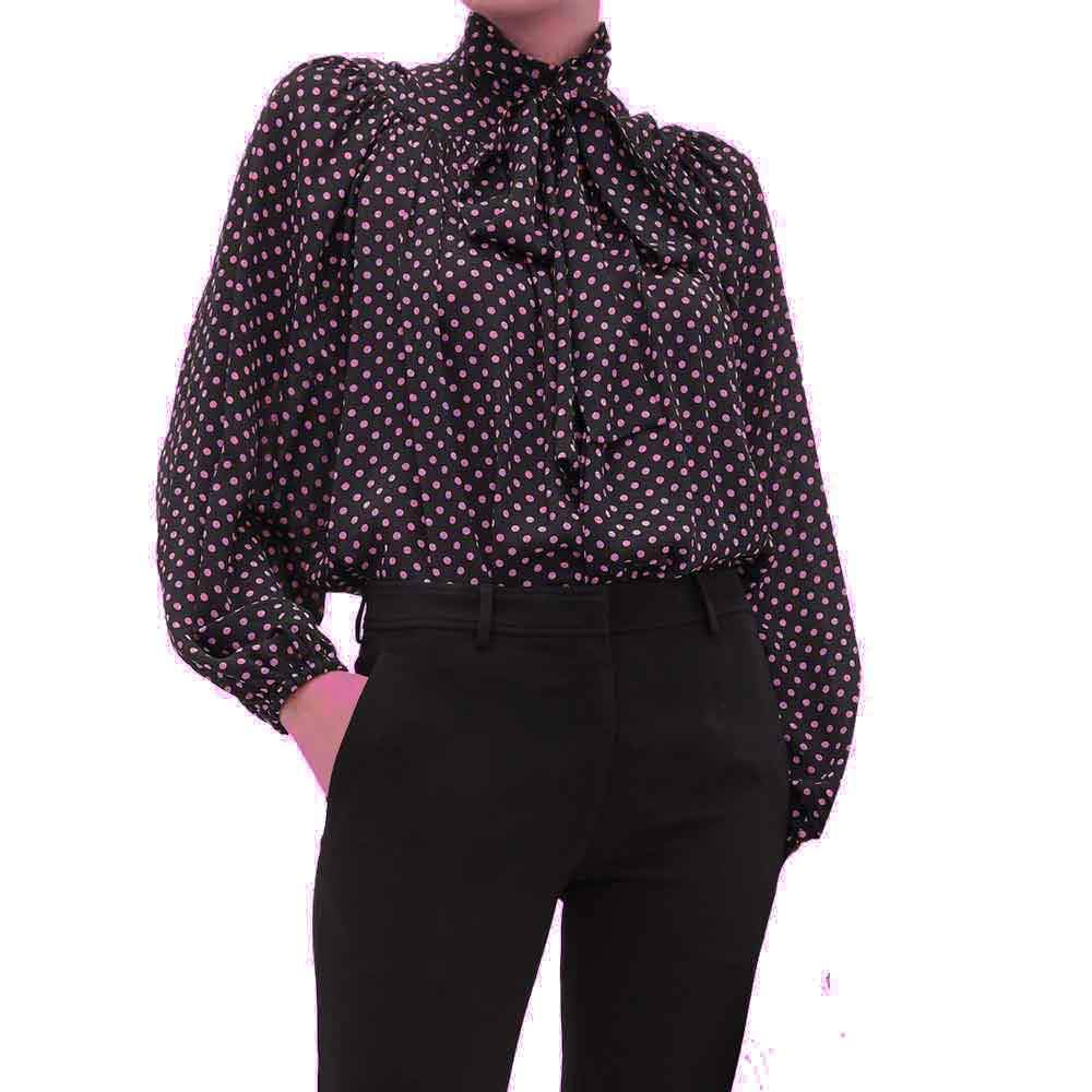 No. 21 Polka Dot Bow Neck Blouse Tops No. 21