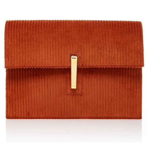 Rag & Bone Handbag MEDIUM / CINNAMON / CLUTCH Hayward Corduroy and Leather Soft Clutch Crossbody