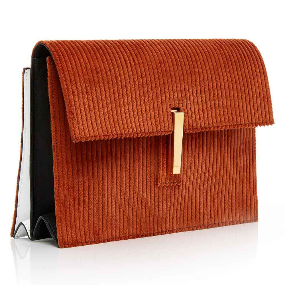 Hayward Corduroy and Leather Soft Clutch Crossbody Handbag Hayward