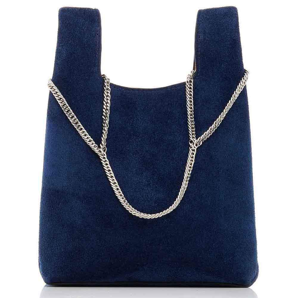 Hayward Navy Suede Mini Shopper on a Chain Handbag Hayward