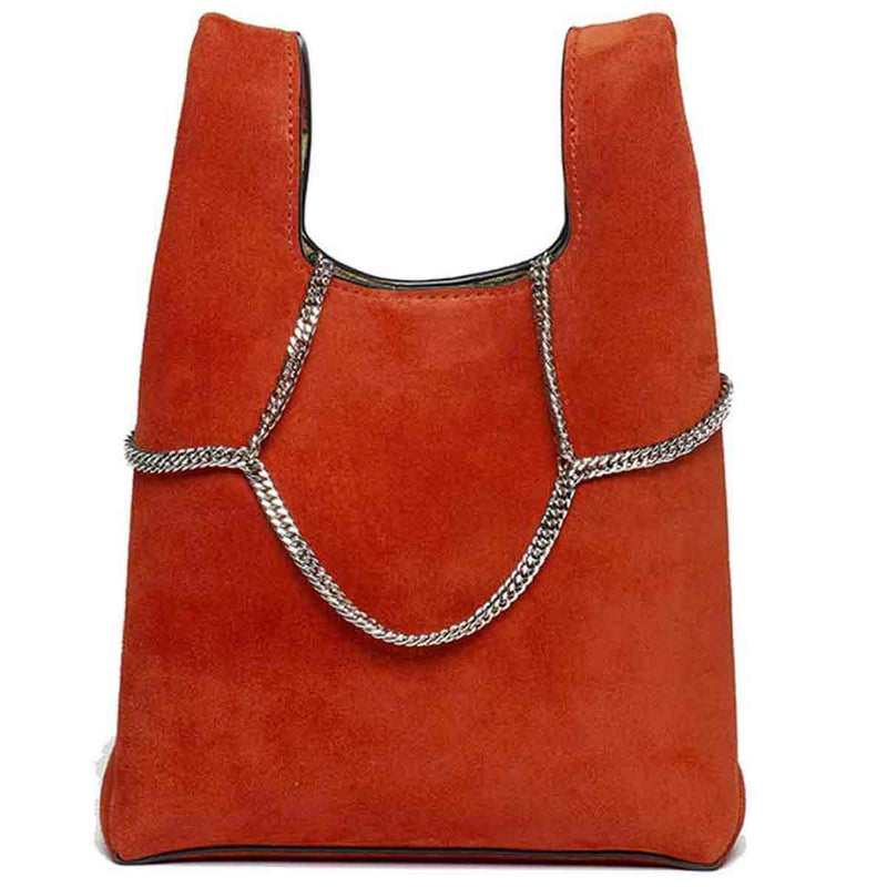 Hayward Red Suede Mini Shopper on a Chain Handbag Hayward
