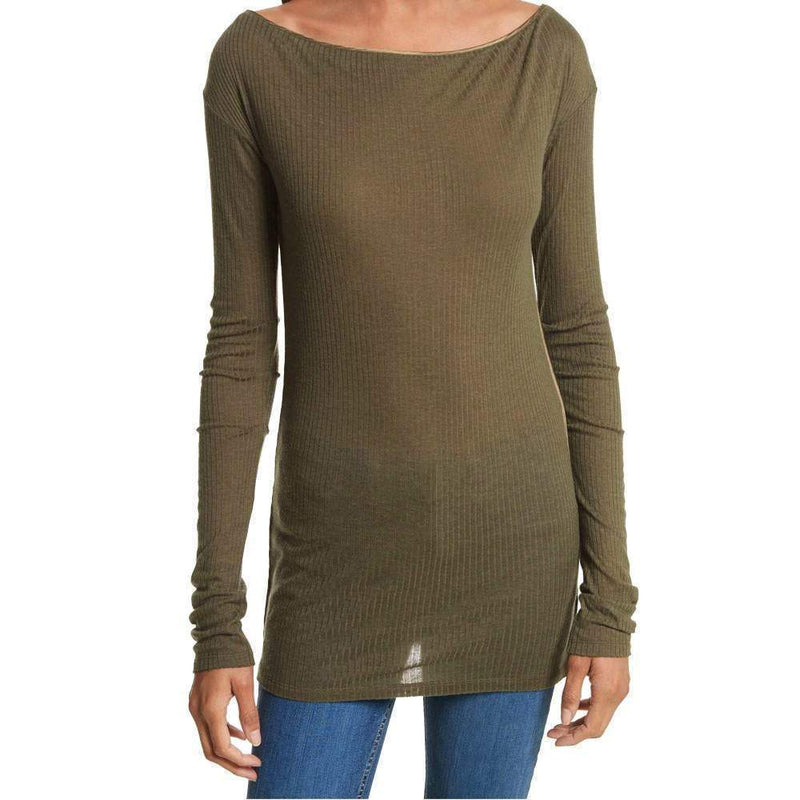 Rag & Bone Madison Army Green Long Sleeve Top tops Rag & Bone