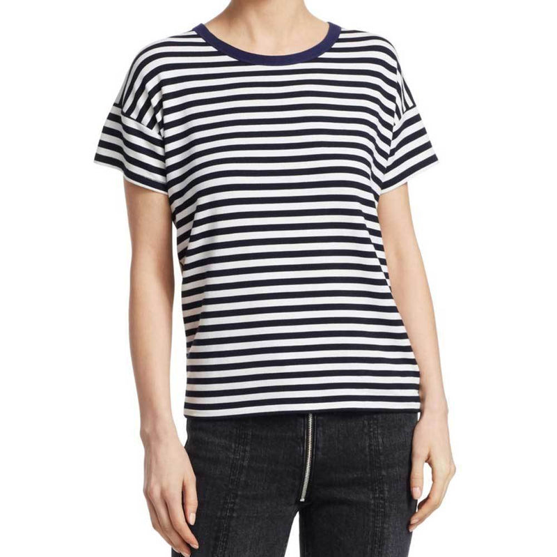 Rag & Bone Kat Split Back Striped Tee Shirt tops Rag & Bone