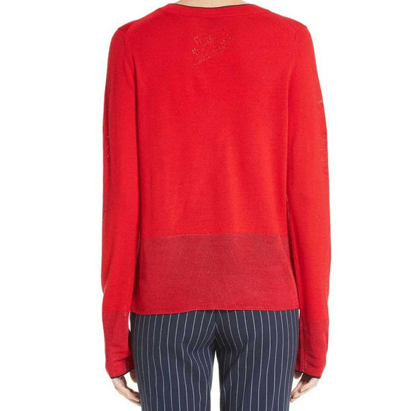 Rag & Bone Adriana Red Longsleeve Pullover tops S / Red Rag & Bone Adriana Pullover Fashion Trending Knit Knitwear Longsleeve Rag & Bone Rag and Bone Rag and Bone Jeans Collection Red Sale tops $177.00 GordonStuart.com