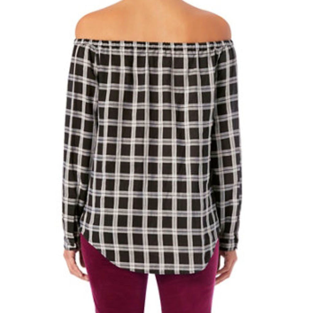 Rag & Bone Plaid Off The Shoulder Top Tops XS / Black Rag & Bone Fashion Long Sleeve Longsleeve Off the Shoulder Plaid Pullover Rag & Bone Rag and Bone Rag and Bone Jeans Collection Sale $112.00 GordonStuart.com