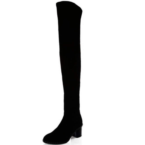 Rag & Bone Rina Studded Suede Thigh High Boot Boots 37 / Black Rag & Bone Ankle Boot Block Heel Boot Bootie brown Leather Rag & Bone Rina Boots Rag & Bones Boots Rina Boots Shoe shoes Studded Boots Wedge $795.00 GordonStuart.com
