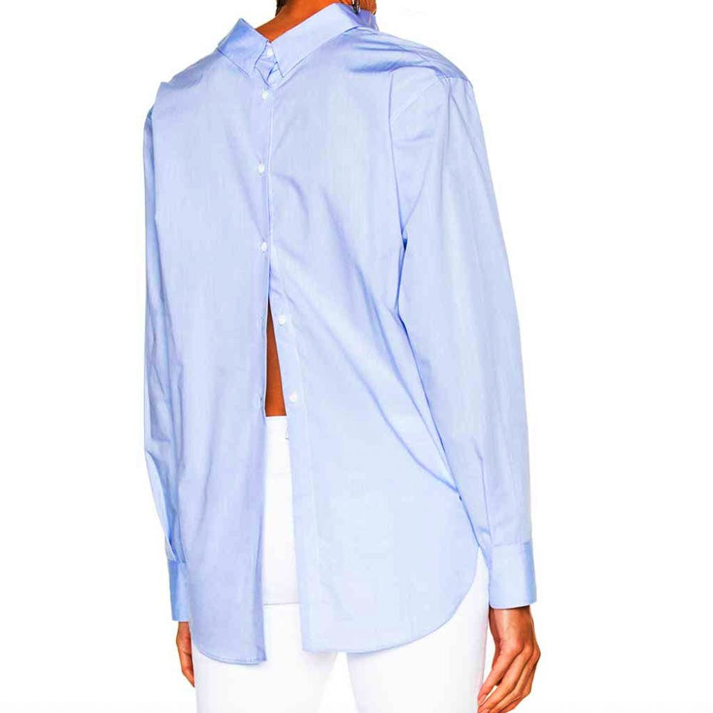 Rag & Bone/JEAN Calder Blue Top tops S / Blue Rag & Bone blouse Blue Top Botton Down Boyfriend Calder Top Fashion Trending Longsleeve Rag & Bone Rag and Bone Jeans Collection Reversible Top Spring Fashion Summer Fashion tops $375.00 GordonStuart.com