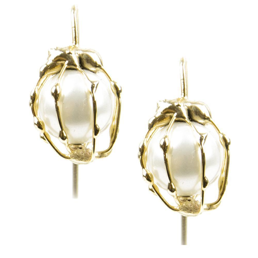 Rosantica Dessica Caged Faux Pearl Drop Earrings Jewelry Rosantica