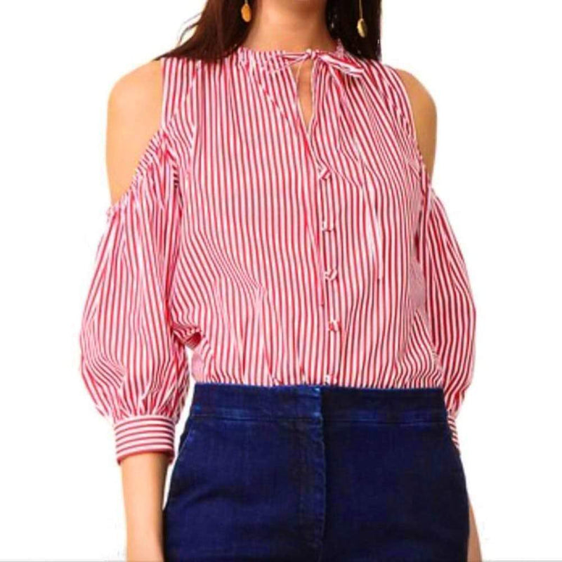 Rossella Jardini Cold Shoulder Tie Neck Striped Blouse Tops Rossella Jardini