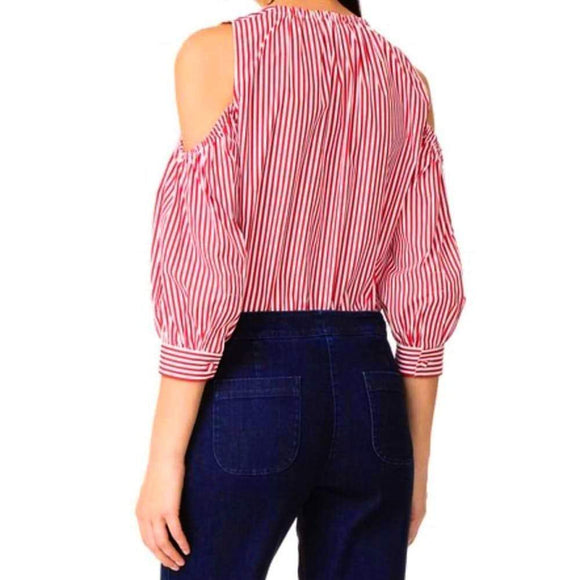 Rossella Jardini Cold Shoulder Tie Neck Striped Blouse Tops 38 / Red and White Stripe Rossella Jardini Cold Shoulder Top Designer Fashion Trending Gathered Top Longsleeve Menswear Red Red and White Stripe Rossella Jardini Stripe Tie Neck Blouse white White Blouse $565.00 GordonStuart.com