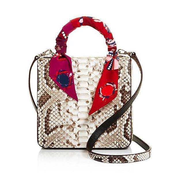 S'uvimol Mini Square Natural Python Satchel Handbag S'uvimol