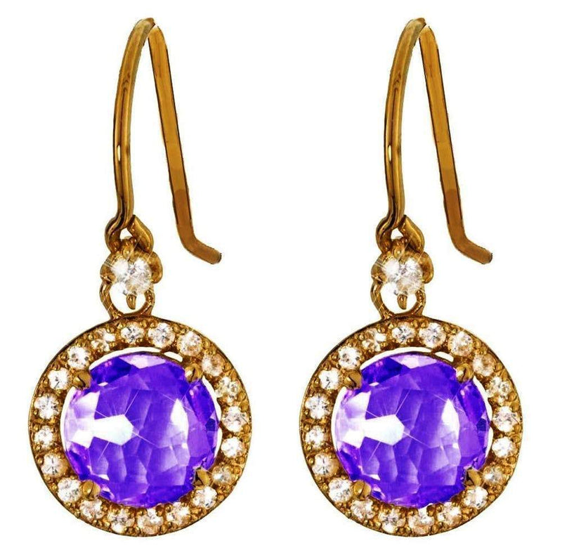 Suzanne Kalan The Pave 14k Gold 8mm Round Amethyst Drop Earring Jewelry Suzanne Kalan