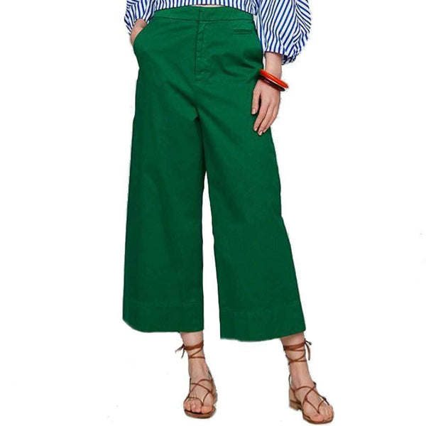 Tomorrowland Pants 36 / GREEN Tomorrowland High Waist Wide-Leg Crop Pants