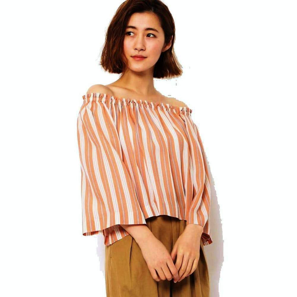 Tomorrowland Orange Striped Off the Shoulder Blouse Tops Tomorrowland