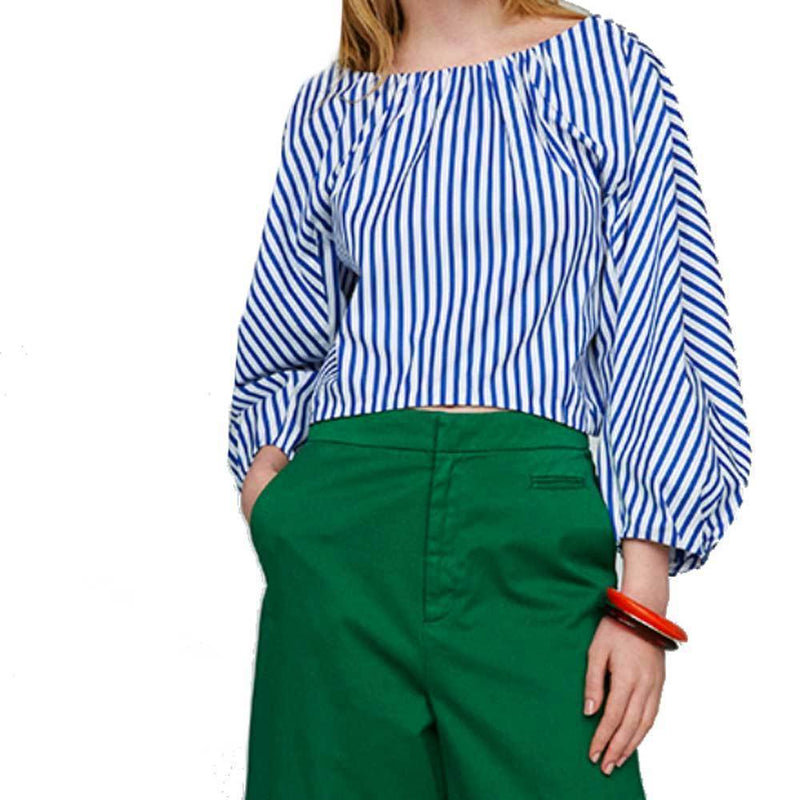 Tomorrowland Cropped Blue Striped Blouse Tops Tomorrowland