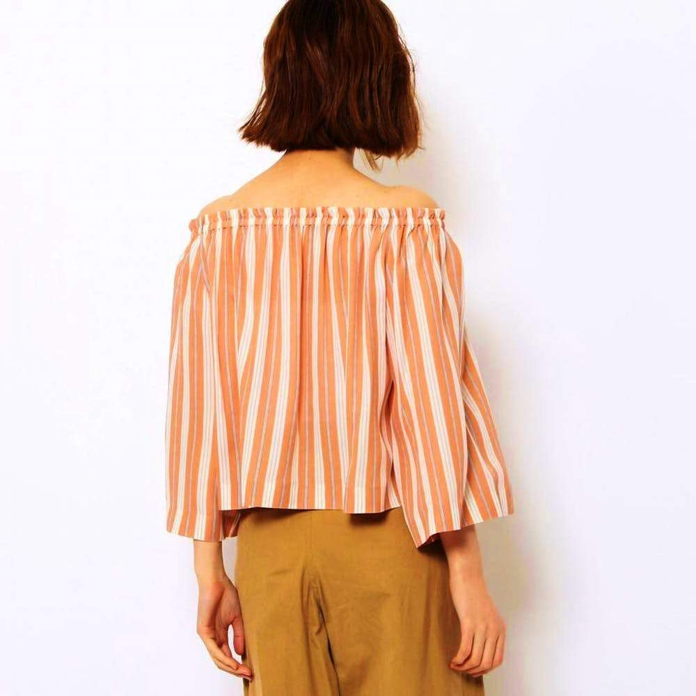 Tomorrowland Orange Striped Off the Shoulder Blouse Tops 38 / Orange Tomorrowland Gift longsleeve Longsleeve off the shoulder Off the Shoulder Blouse Off the Shoulder Top silk Silk Blouse Striped Tomorrowland $450.00 GordonStuart.com