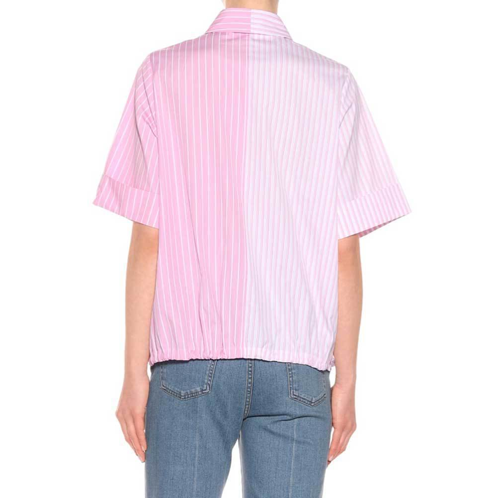 Victoria Victoria Beckham Pink Striped Cotton Top Tops Victoria Beckham