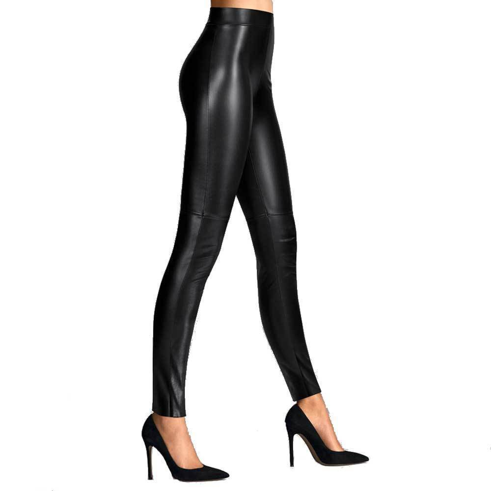 Wolford Estelle Leather Look Black Leggings Pants Wolford