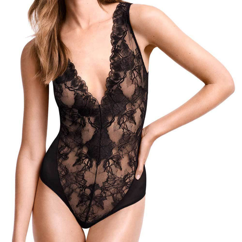 Wolford Eve Black String Bodysuit Tops Wolford