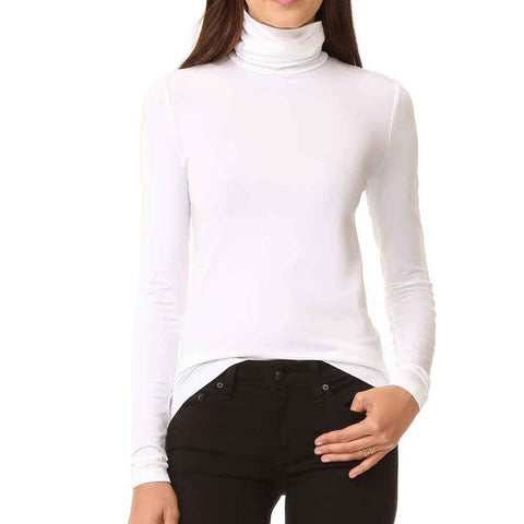 Wolford Tops S / WHITE Wolford Viscose White Long Sleeve Turtleneck Pullover Top