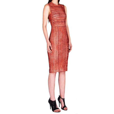 Yigal Azrouel Dress 4 / Peach Yigal Azrouel Tribal Printed Scuba Dress