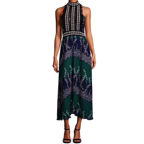 Yigal Azrouel Dress 6 / Midnight Yigal Azrouel Long Trellis-Print Halter Dress