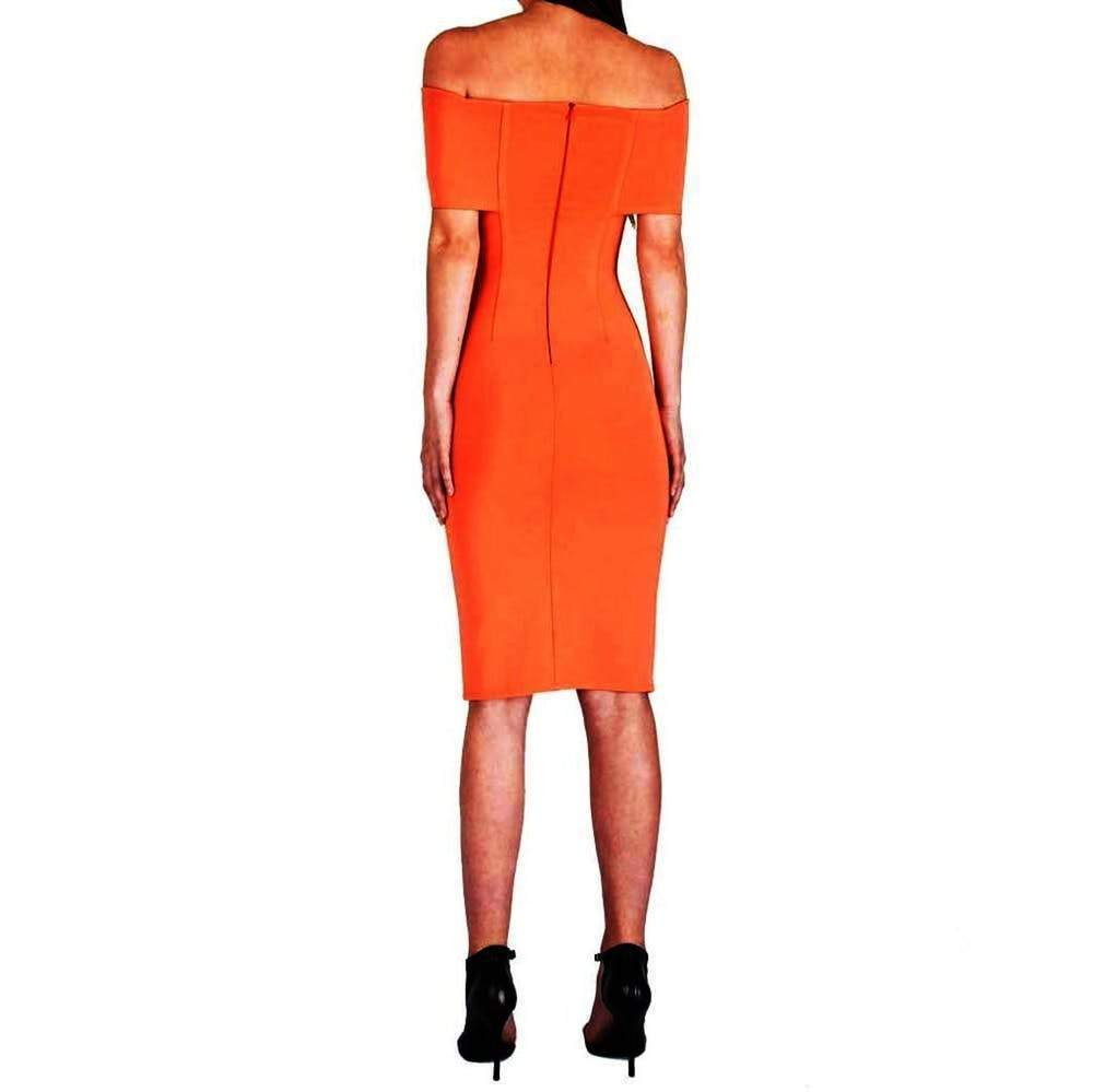 Yigal Azrouel Off The Shoulder Peach Dress Dress Yigal Azrouel