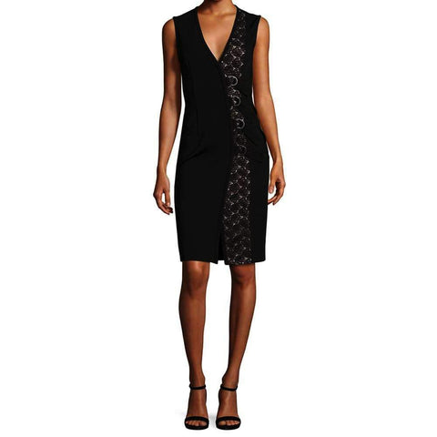 Yigal Azrouel Dress 8 / Jet Yigal Azrouel Lace Up V-Neck Dress