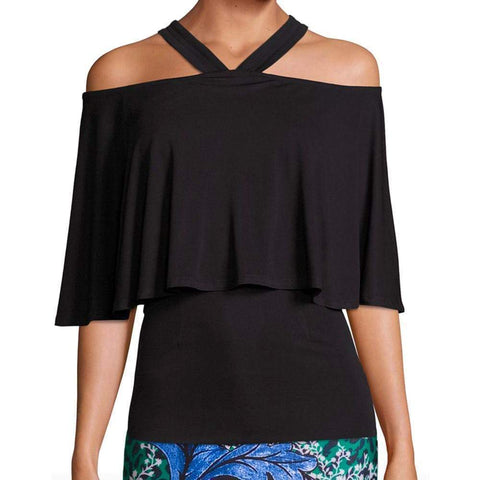 Yigal Azrouel tops Black / 6 Yigal Azrouel Cold Shoulder Matt Jersey Top