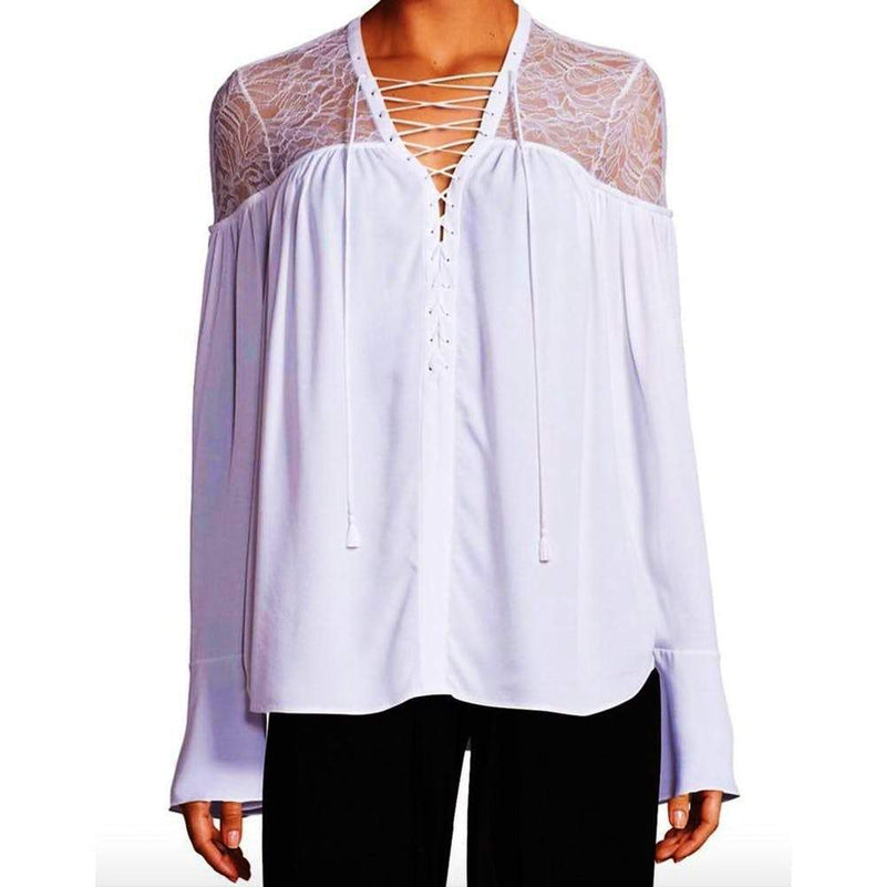 Yigal Azrouel Lace-Yoke Silk Georgette Tie-Front Blouse tops Yigal Azrouel