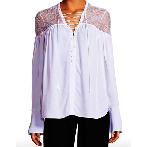 Yigal Azrouel tops White / 6 Yigal Azrouel Lace-Yoke Silk Georgette Tie-Front Blouse