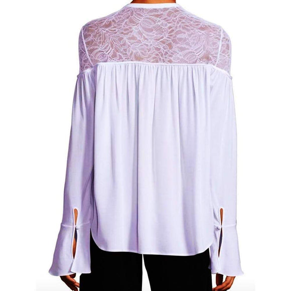 Yigal Azrouel Lace-Yoke Silk Georgette Tie-Front Blouse tops White / 6 Yigal Azrouel Fall Fashion Lace Georgette Blouse Lace Yoke Silk Blouse Longsleeve Tie-Front Blouse Top white Winter Fashion Yigal Azrouel $395.00 GordonStuart.com
