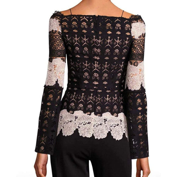 Yigal Azrouel Off The Shoulder Two-Tone Blouse tops 6 / Ivory-Black Yigal Azrouel Bare Shoulder Blouse Black Fall Fashion Lace Blouse Off the Shoulder Top Winter Fashion Yigal Azrouel $890.00 GordonStuart.com