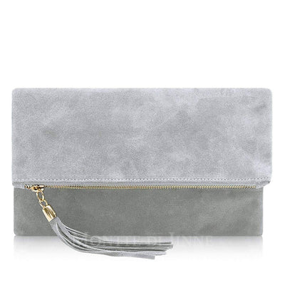 Suede Leather Clutch Evening Purse - Lusso Borsetta