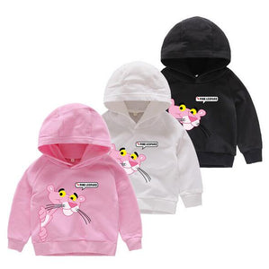de7e915b9 3-10Y girls pink Sweater Panther T-shirts Baby boys Hooded Long Sleeves Children  Spring Autumn Clothes Toddler Outerwear