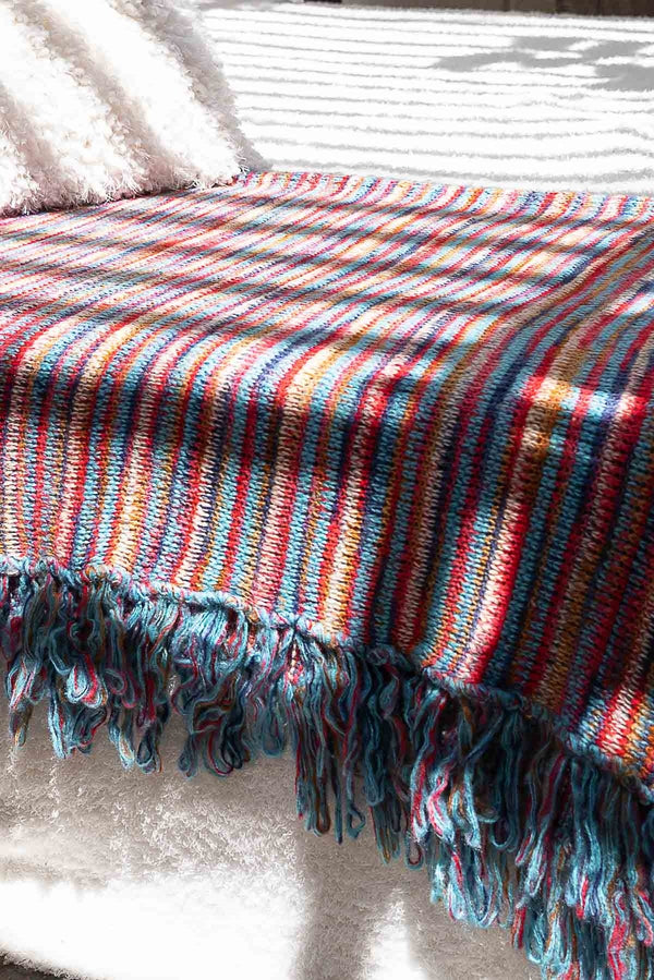 Rainbow Knit Throw