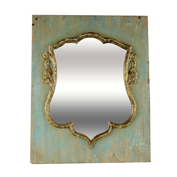 Wood Shield Mirror