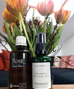 Mix Argan Oil with Rose Floral Water for Maximum Moisturising Effect