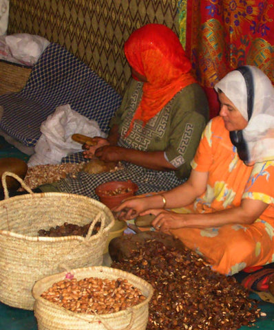 Berber women producing argan oil