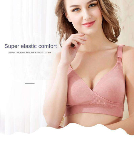 V-Shaped Front Opening Nursing Bra-Maternity-Pink-B-34-InCrate.store