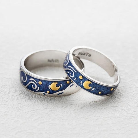 Van Gogh Starry Sky Couple Rings-Rings-Resizable-Small and Large rings-InCrate.store