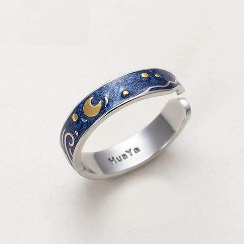 Image of Van Gogh Starry Sky Couple Rings-Rings-Resizable-Small ring-InCrate.store